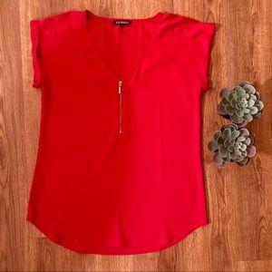 Express red zipper blouse